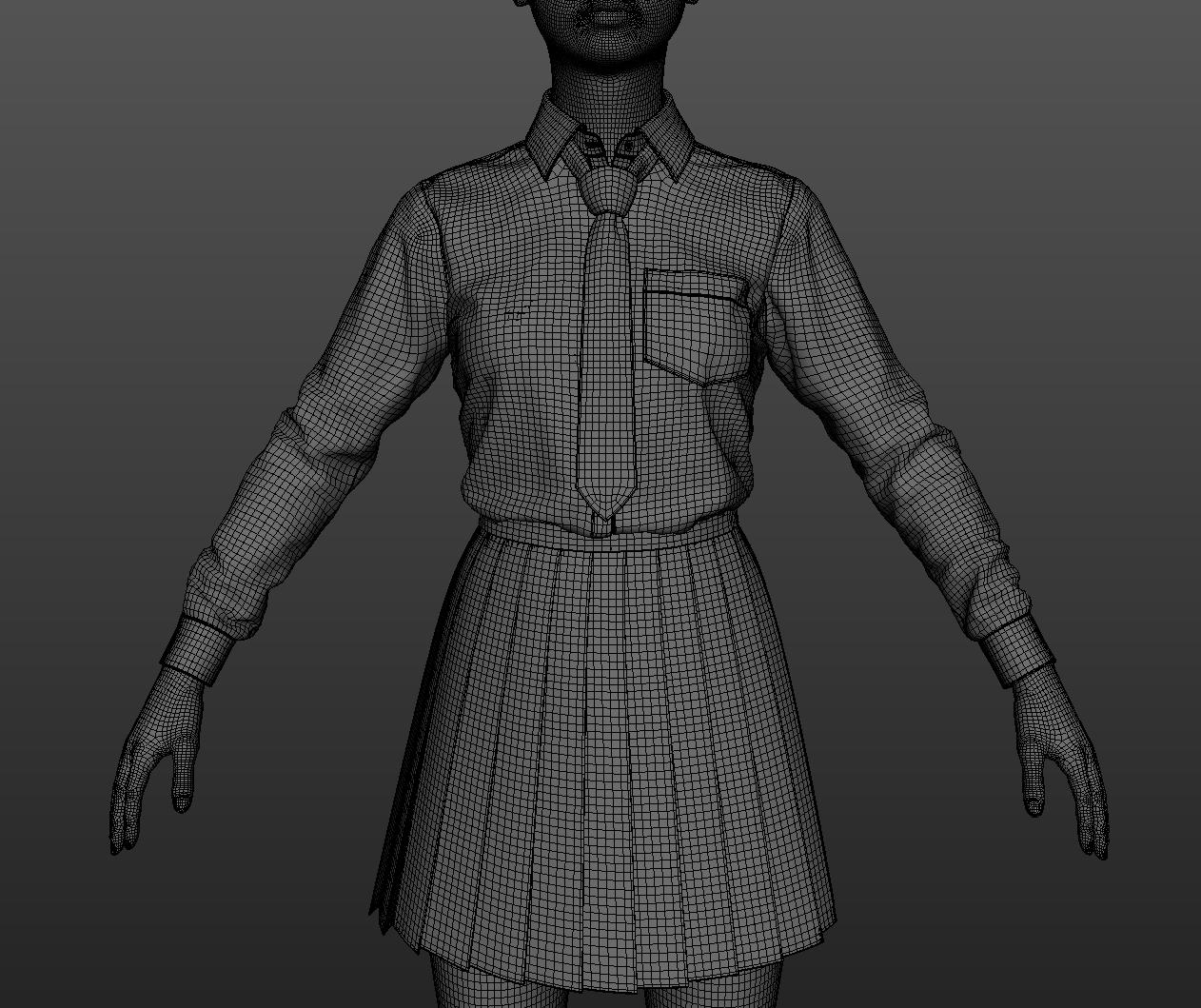 Полигональный каркас — вид персонажа из рабочего вьюпорта 3DSMax