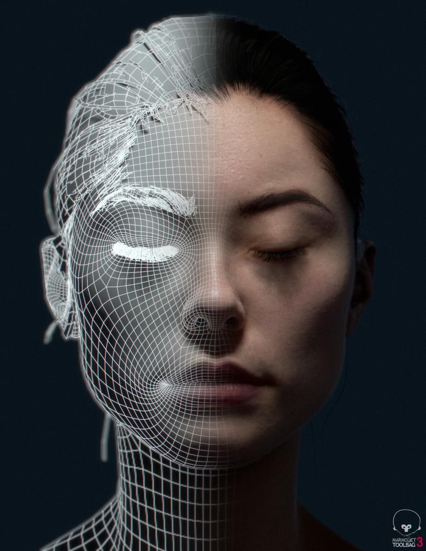 Гипер-реалистичный портрет 3D персонажа, каркасная сетка, полигональное моделирование