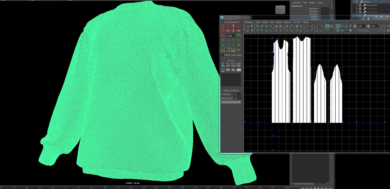 Создание UV развёртки координат для свитера