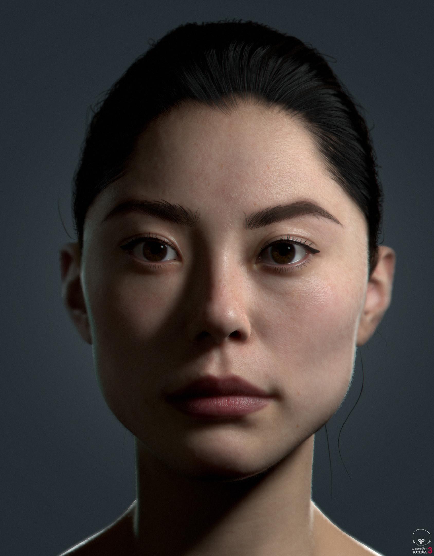 Реалистичная 3D визуализация портрета девушки